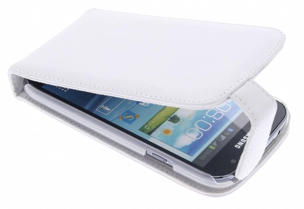 Wit stijlvolle genuine leather flipcase voor de Samsung Galaxy Grand (Neo)