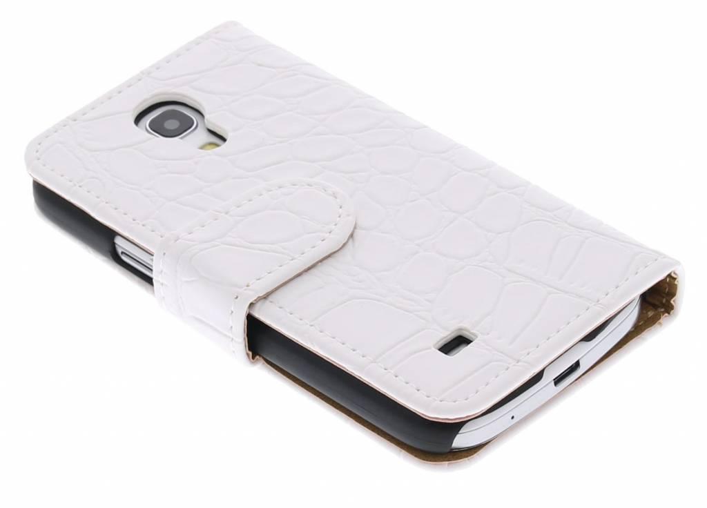 Wit matte krokodillen booktype hoes voor de Samsung Galaxy S4 Mini