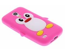 Fuchsia pinguin siliconen hoesje Samsung Galaxy S4 Mini