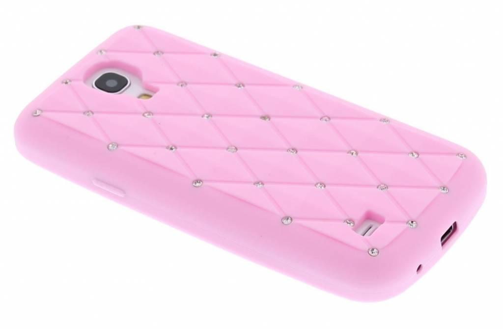 Roze siliconen hoesje met strass-steentjes voor de Samsung Galaxy S4 Mini