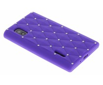 Paars siliconen hoesje met strass LG Optimus L5