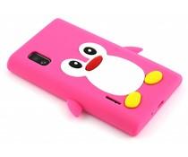 Fuchsia pinguin siliconen hoesje LG Optimus L5