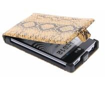 Cognac slangenprint flipcase LG Optimus L5