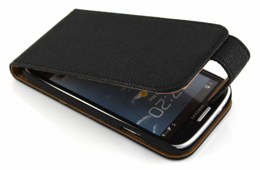 Zwarte ribbelige flipcase voor Samsung Galaxy s4 i9500