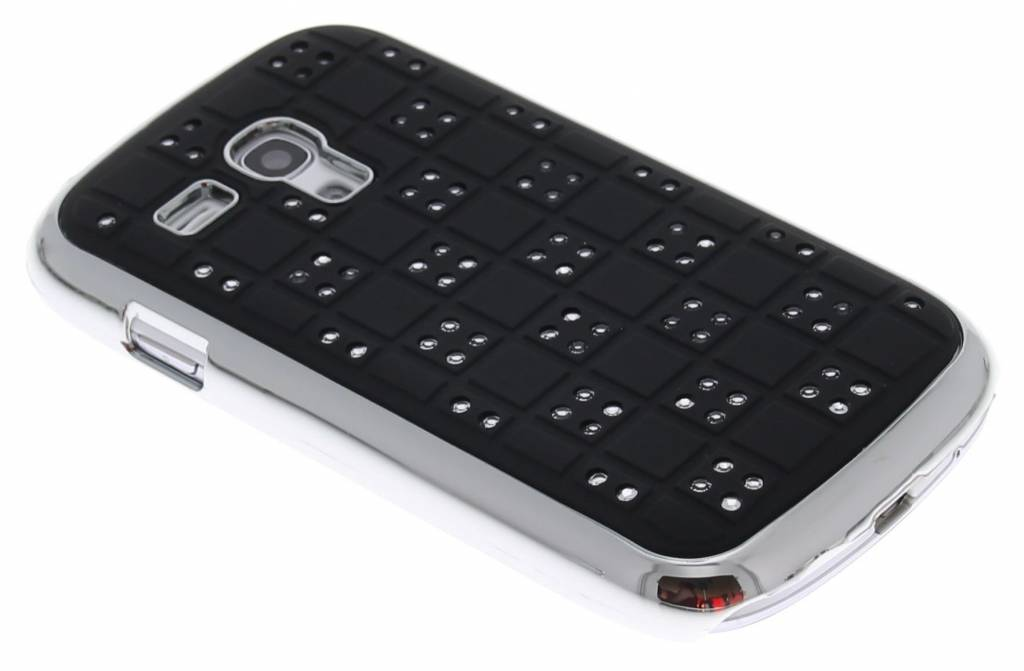 Zwart domino hardcase hoesje met strass-steentjes voor Samsung Galaxy S3 Mini i8190