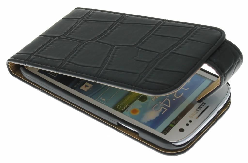 Zwarte krokodil flipcase voor Samsung Galaxy s4 i9500