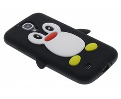 Zwart pinguin siliconen hoesje Samsung Galaxy S4