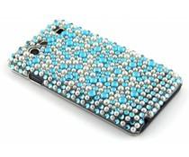 Blauw pareltjes BlingBling hardcase hoesje Galaxy S Advance