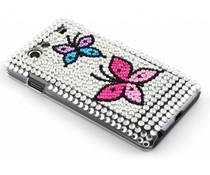 Zilver vlinder BlingBling hardcase hoesje Galaxy S Advance