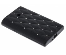 Zwart siliconen hoesje met strass LG Optimus L3