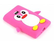 Fuchsia pinguin siliconen hoesje LG Optimus L3