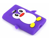 Paars pinguin siliconen hoesje LG Optimus L3