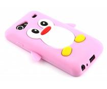 Roze pinguin siliconen hoesje Galaxy S Advance
