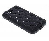 Zwart siliconen hoesje met strass Samsung Galaxy S Advance