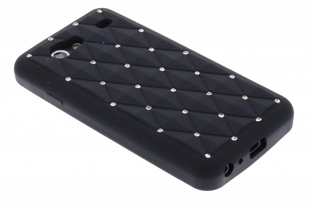 Zwart siliconen hoesje met Strass-steentjes voor de Samsung Galaxy S Advance