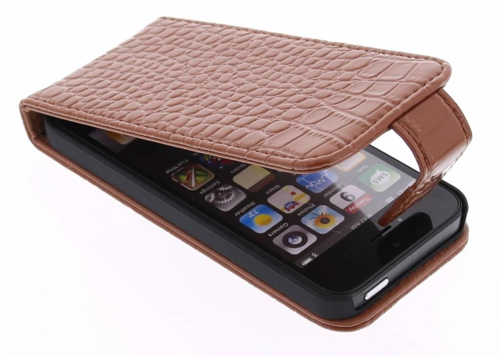 Bruine glimmende krokodil flipcase voor de iPhone 5 / 5s / SE