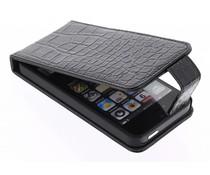 Zwart glimmende krokodil flipcase iPhone 5 / 5s / SE