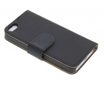 Zwart effen booktype hoes iPhone 5 / 5s / SE