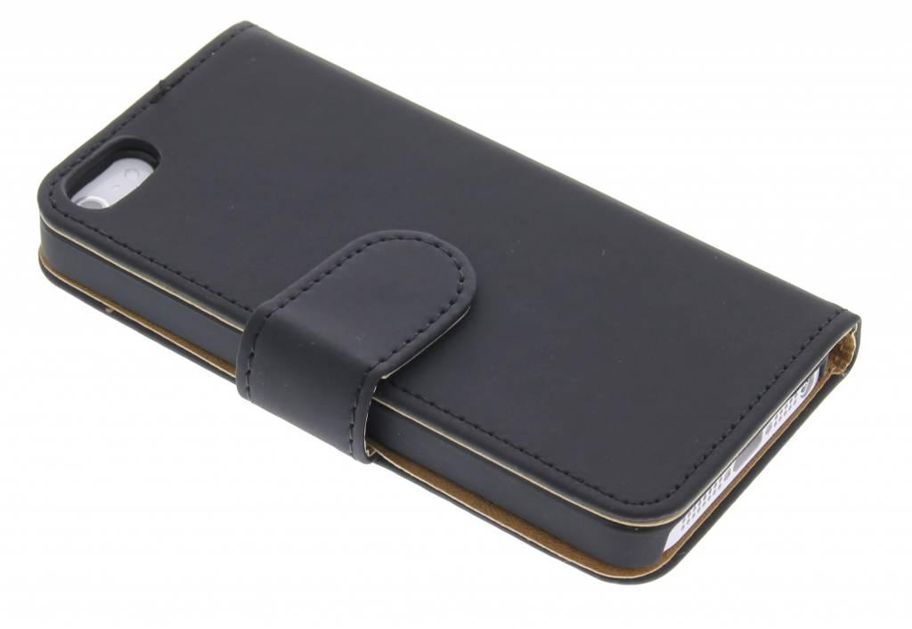Zwarte effen booktype hoes voor de iPhone 5 / 5s / SE