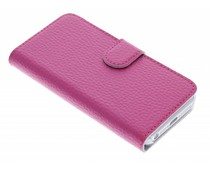 Fuchsia stijlvolle booktype hoes iPhone 5 / 5s / SE
