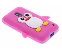 Fuchsia pinguin siliconen hoesje Nokia Lumia 620