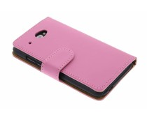 Roze effen booktype hoes HTC Desire 601