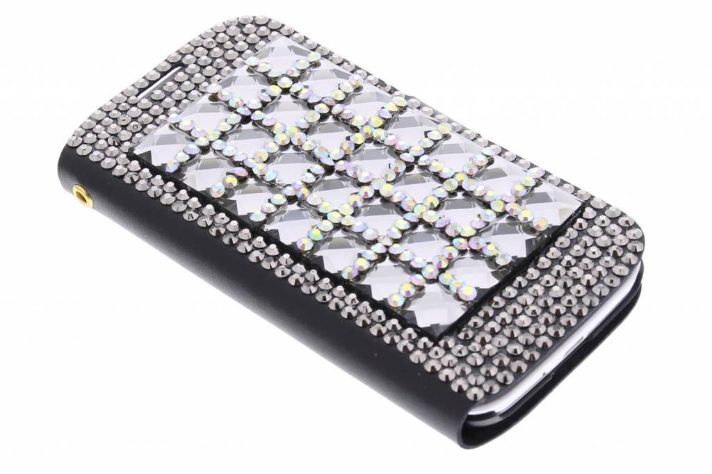 Booktype hoes met luxe glazen strass-stenen voor de Samsung Galaxy S4