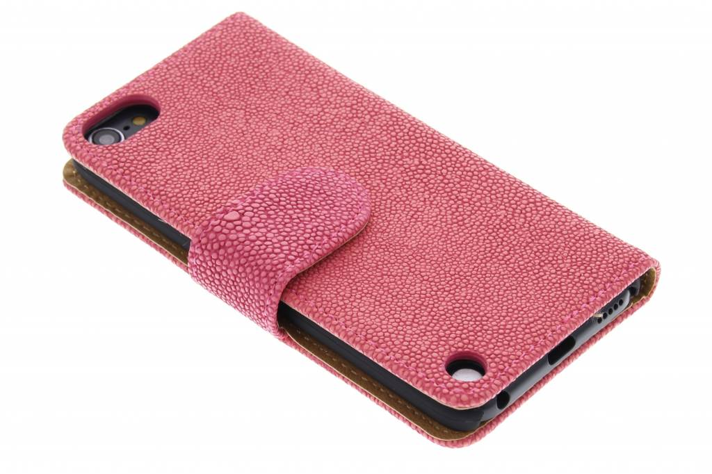 Fuchsia glanzende ribbelige booktype hoes voor de iPod Touch 5g / 6