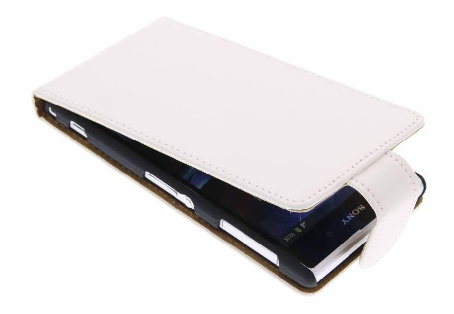 Blanc Cas Flip Classique Pour Sony Xperia Z1 kym7OtP