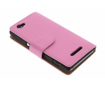 Roze effen booktype hoes Sony Xperia M
