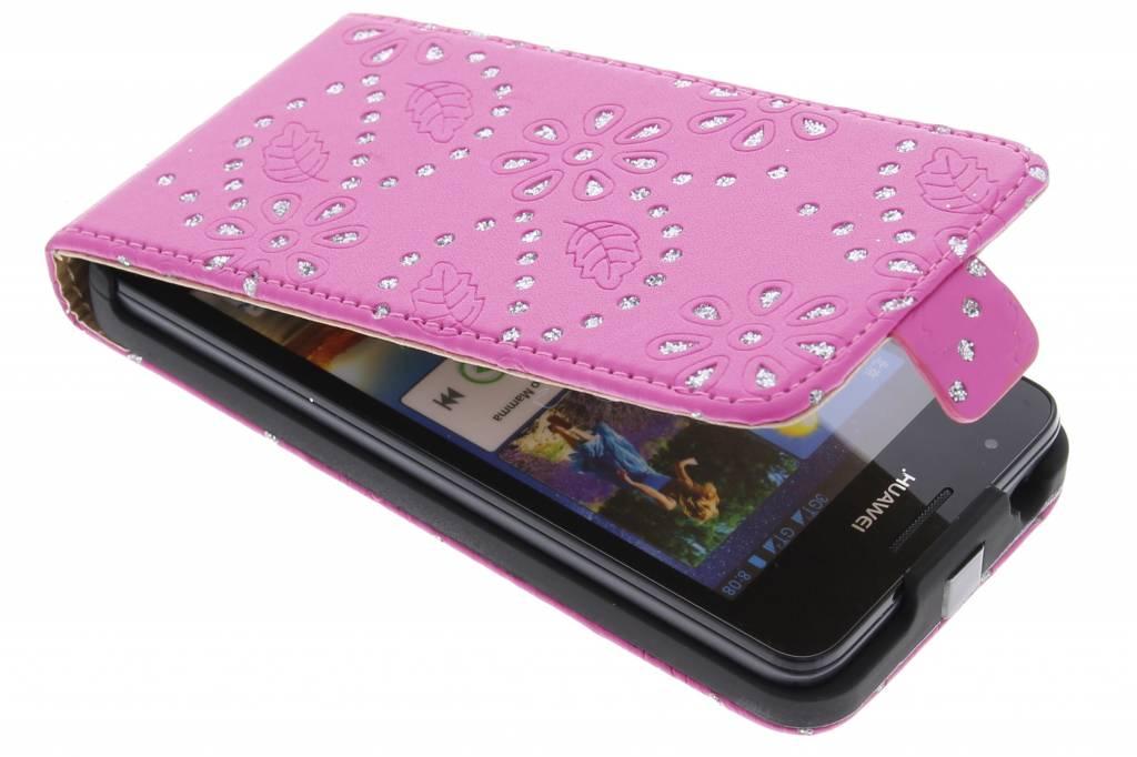Fuchsia bloemblad design flipcase voor de Huawei Ascend G510