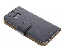 Zwart krokodil booktype hoes HTC One M8 / M8s