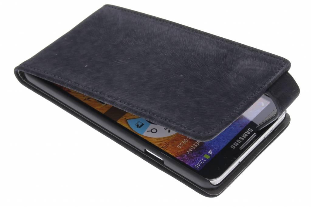 Zwarte premium suède flipcase voor de Samsung Galaxy Note 3