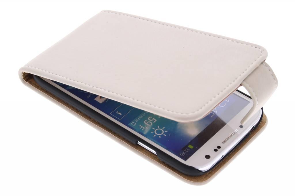 Beige premium suède flipcase voor de Samsung Galaxy S4