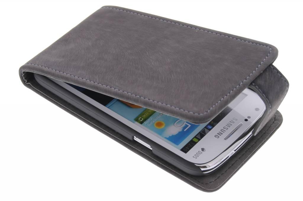 Grijze premium suède flipcase voor de Samsung Galaxy Core