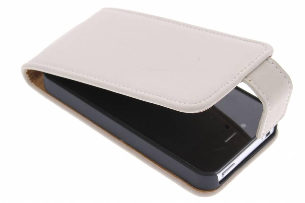 Beige premium suède flipcase voor de iPhone 4 / 4s