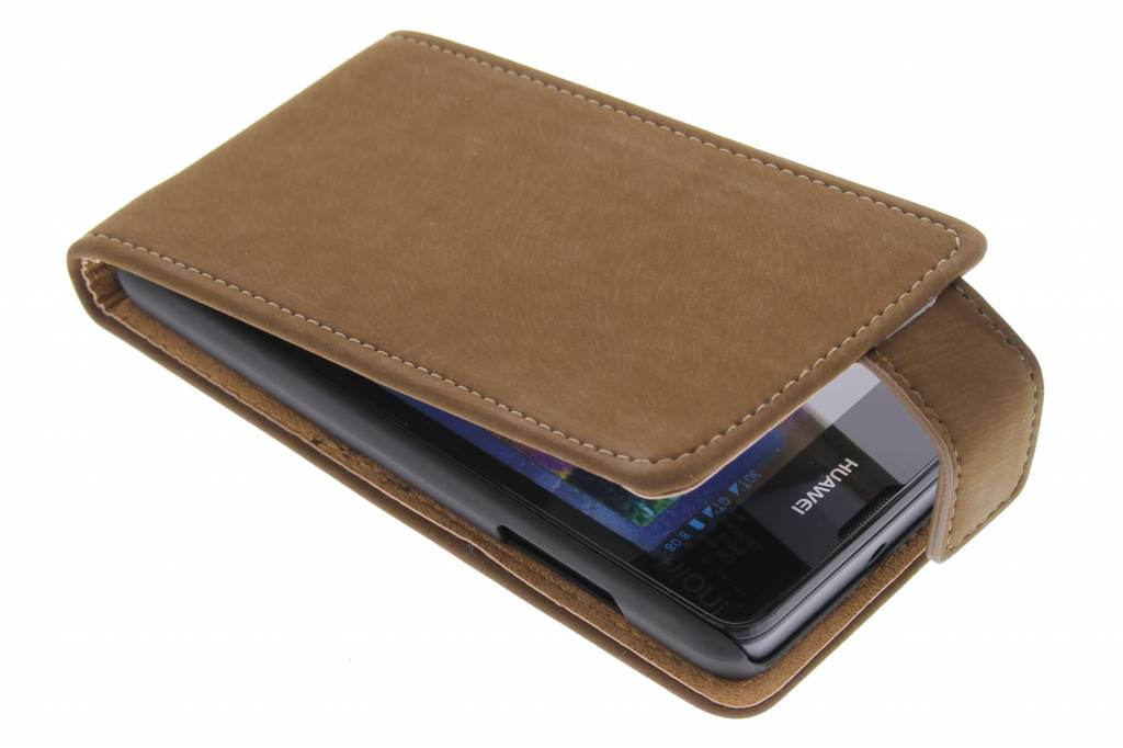 Bruine premium suède flipcase voor de Huawei Ascend Y300