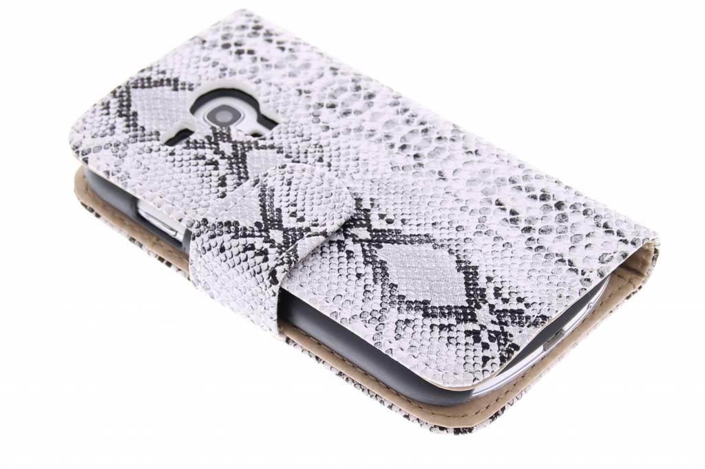 Witte slangenprint booktype hoes voor de Samsung Galaxy S3 Mini