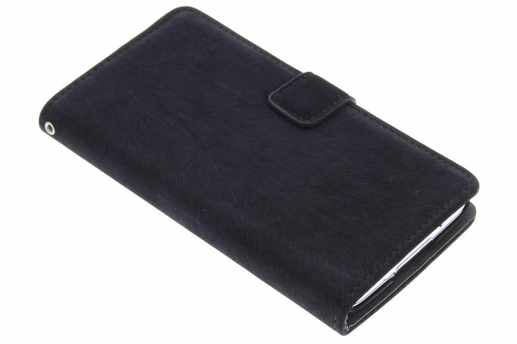 Zwarte premium suède booktype hoes voor de Samsung Galaxy S5 (Plus) / Neo