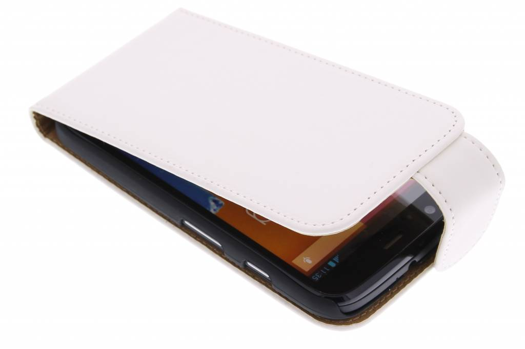Witte classic flipcase voor de Motorola Moto G