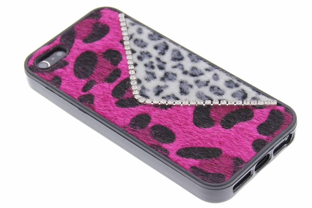 Roze luxe luipaard design TPU hoesje voor de iPhone 5 / 5s / SE