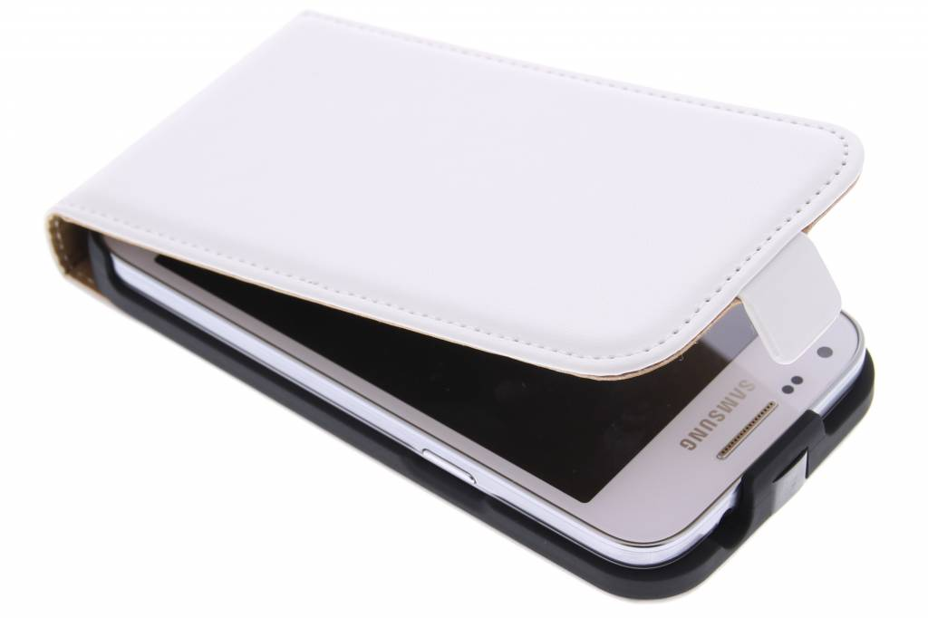Witte luxe flipcase voor de Samsung Galaxy Core Plus