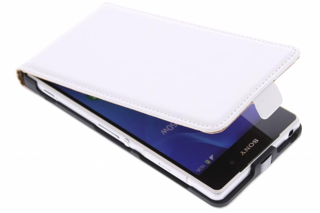 Witte luxe flipcase voor de Sony Xperia Z2
