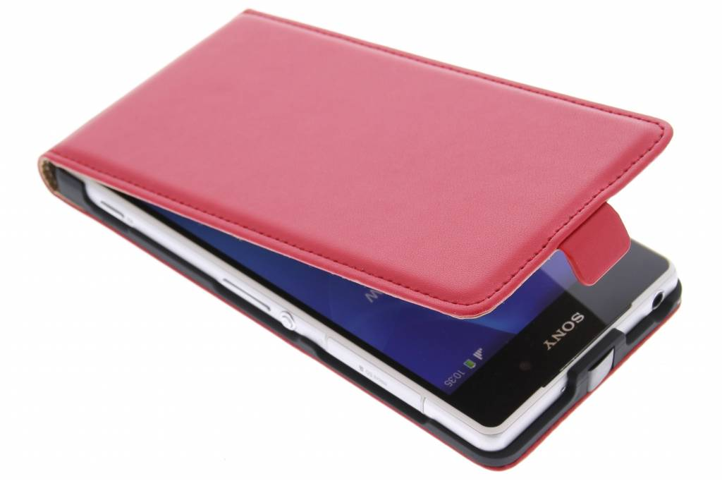 Rode luxe flipcase voor de Sony Xperia Z2