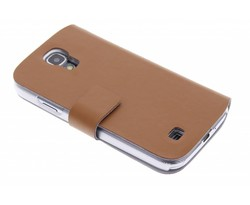 Bruin stijlvolle booktype hoes Samsung Galaxy S4