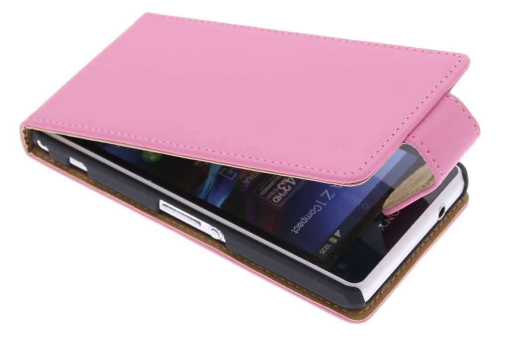 Roze classic flipcase voor de Sony Xperia Z1 Compact
