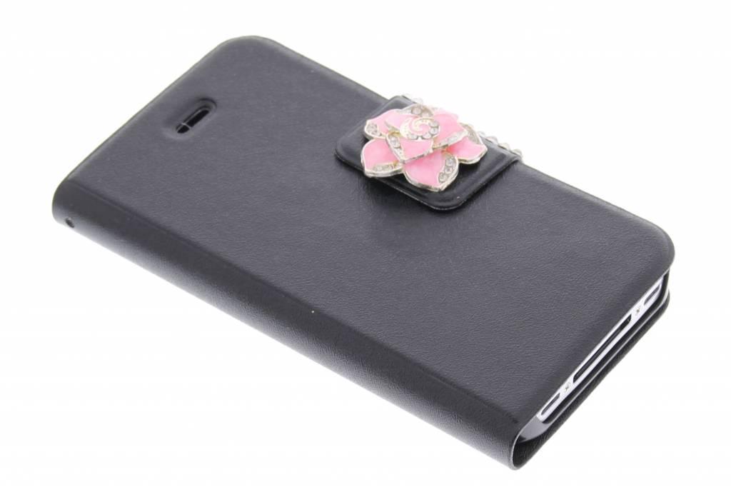 Zwarte metallic strass booktype hoes voor de iPhone 4 / 4s