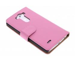 Roze effen booktype hoes LG G3