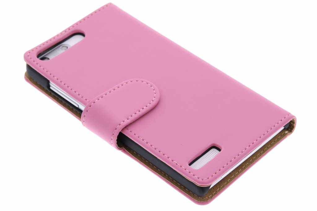 Roze effen booktype hoes voor de Huawei Ascend G6