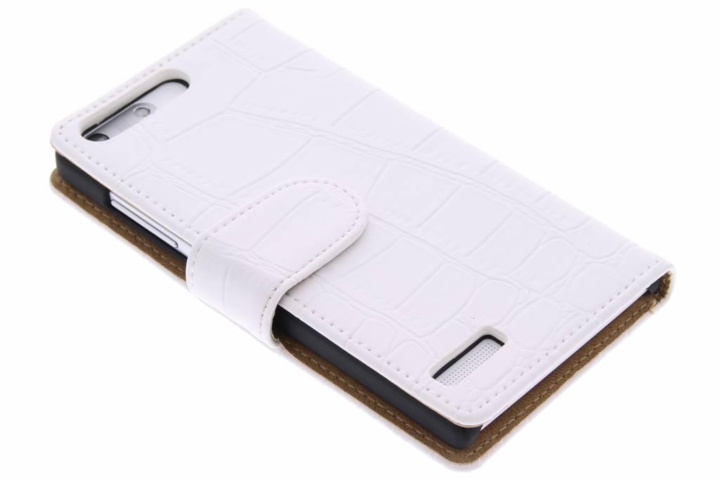 Witte krokodil booktype hoes voor de Huawei Ascend G6
